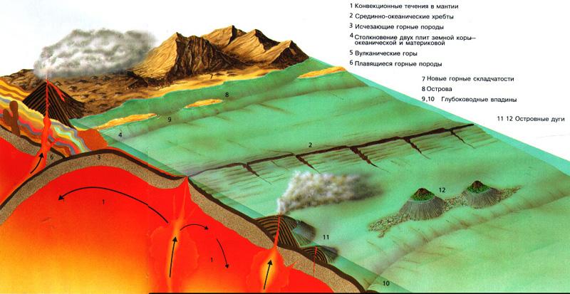 Когда уровень моря понижается, между материками возникают...  Земная кора состоит из ряда огромных плит...