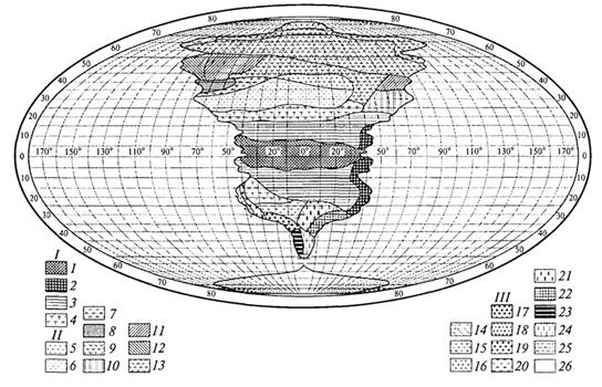 """Рис. 23. Распределение растительности на """"идеальном"""" континенте, составленное К.Троллем (Г.Вальтер, 1968): I. Тропические зоны: 1 -экваториальный дождевой лес; 2- тропические дождевые леса; 3 -тропические саванны (влажные саванны) и листопадные леса; 4 -тропические сухие саванны и колючие леса. II. Внетропические зоны северного полушария: 5-сухие пустыни; 6- холодные внутриматериковые пустыни; 7 - субтропические зимнезеленые степи; 8 -жестколистные леса и кустарники; 9 -зона степей с холодной зимой; 10- зона влажных муссонных и лавровых лесов; 11- летнезеленые леса; 12 - океанические летнезеленые листопадные и лавровые леса; 13 -бореальные хвойные леса; 14 -бореальные березовые леса; 15 - субарктические тундры; 16-высокоарктические тундры. III. Внетропические зоны южного полушария: 17 -прибрежные пустыни; 18 -пустыни, развитые в пределах пояса """"Гаруа""""; 19- жестколистные леса и кустарники; 20- субтропические колючие степи; 21- субтропические злаковники; 22- субтропические дождевые леса; 23 -умеренно холодные дождевые леса; 24 -степи Патагонии и Новой Зеландии; 25 -субантарктические туссоковые луга и болота; 26- антарктическая область материкового льда"""
