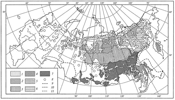 Рис. 28. Распространение лиственничных лесов в Северной Евразии (В.Б.Сочава, 1956): 1 - предтундровые лиственничные редколесья; 2 -северотаежные лиственничные леса; 3- среднетаежные лиственничные леса; 4 -среднетаежные багульниковые и сфагновые лиственничные леса (мари); 5 - южнотаежные лиственничные леса; 6 -горные редкостойные лиственничные леса; 7 -горные таежные лиственничные леса, местами кедрово-лиственничные; 8 -лиственничные леса на небольших площадях; 9 -обобщенная граница распространения всех видов лиственницы; 10 -восточная граница распространения лиственницы сибирской; 11 - изолиния показателя средней континентальности климата (по Н.Н.Иванову)