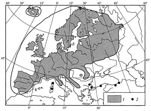 Рис. 31. Распространение вереска в Европе (Г.Вальтер, 1982): 1 - основное распространение; 2 -удаленные местонахождения за пределами основного распространения