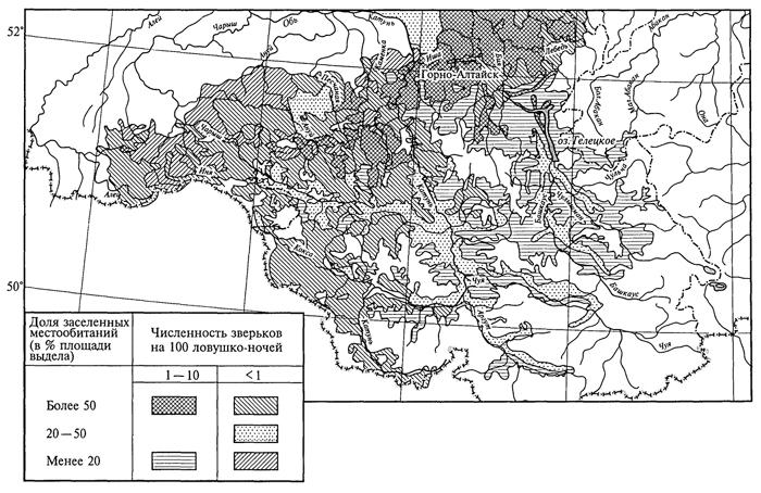 Рис. 33. Структура ареала восточно-азиатской мыши на Алтае (Н. В. Туликова, 1982)