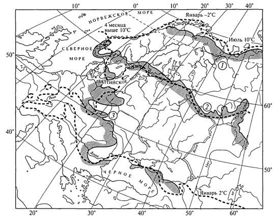 Рис. 38. Границы ареалов ели (1), дуба (2) и бука (3) в сопоставлении со среднемесячными изотермами января и июля (Г.Вальтер, 1982)
