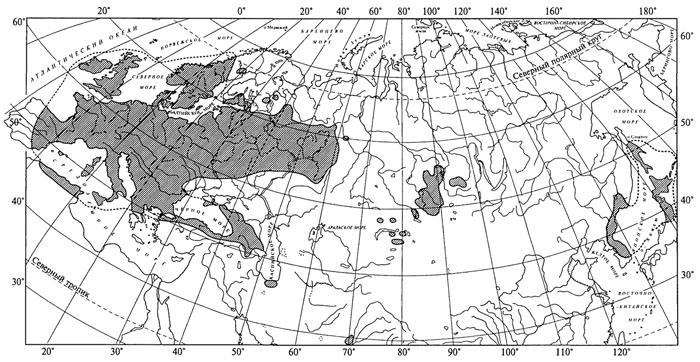 Рис. 41. Ареал ясменника душистого (А. И.Толмачев, 1974)