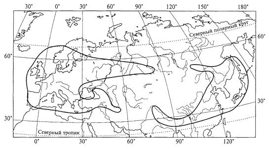Рис. 42. Типичное положение областей разрыва ареалов позвоночных животных Евразии (Е.Н.Матюшкин, 1976)
