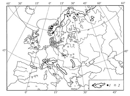 Рис. 44. Распространение куропаточьей травы в Европе (А.И.Толмачев, 1974): 1 - современное распространение; 2- находки в ископаемом состоянии в поздне-ледниковых (и отчасти межледниковых) отложениях