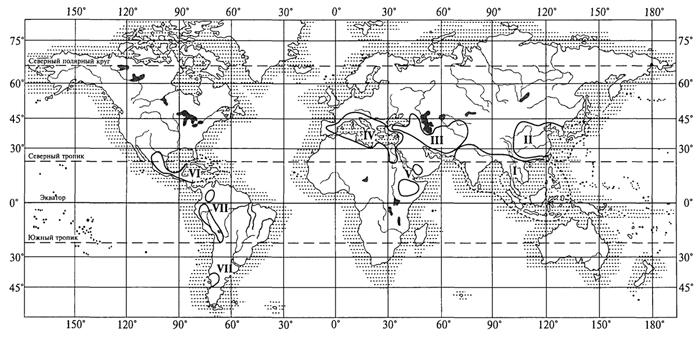 Рис. 53. Центры происхождения культурных растений (Н. И. Вавилов, 1926): I - Южноазиатский тропический; II - Восточноазиатский; III - Юго-Западноазиатский; IV - Средиземноморский; V - Абиссинский; VI - Центральноамериканский; VII - Андийский (Южноамериканский)