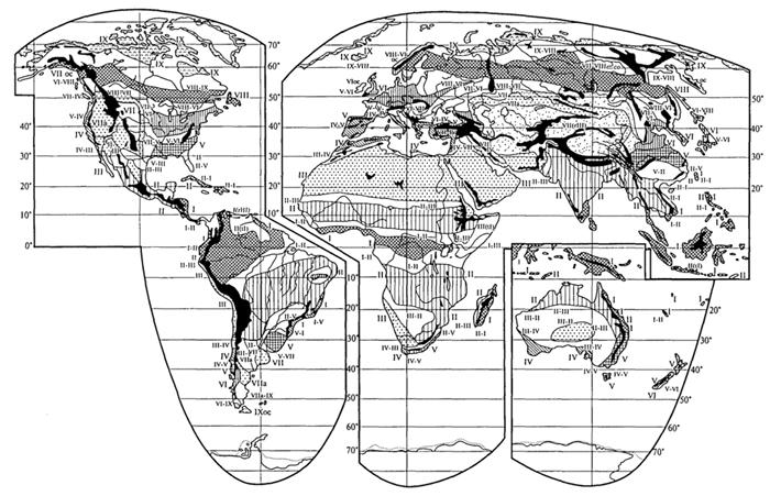 Рис. 60. Зональные типы биомов суши (Г. Вальтер, 1985): I - вечнозеленые тропические дождевые леса, почти без сезонных аспектов; II - тропические листопадные леса или саванны; III - субтропическая пустын ная растительность; IV - субтропические склерофильные леса и кустарники, чувствительные к морозам; V - умеренные вечнозеленые леса, чувствитель ные к морозам; VI - широколиственные листопадные леса, устойчивые к моро зам; VII - степи и пустыни областей с холодной зимой, устойчивые к морозам; VIII - бореальные хвойные леса (тайга); IX - тундры, обычно на многолетне- мерзлых почвах; залитые контуры - высокогорная растительность