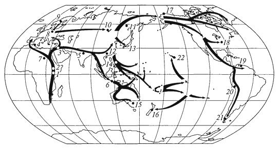 Рис. 6. Приблизительные даты расселения первобытных людей по земному шару (лет назад) (К.М.Петров, 2001): Австралопитеки: 1- 5 млн. Homo erectus: 2-1,6 млн; 3 -1 млн; 4 -700 тыс.; 5 -500 тыс.; 6- 800 тыс. Homo sapiens: 7-92 тыс.; 8 -33 тыс.; 9 -12 тыс.; 10-15 тыс.; 11 - 14 тыс.; 12 -67 тыс.; 13 и 14 - 30 тыс.; 15 -38 тыс.; 16 -1000; 17 -4500; 18-19 тыс.; 19 -14 тыс.; 20- 22 тыс.; 21 - 11 тыс.; 22- 1600
